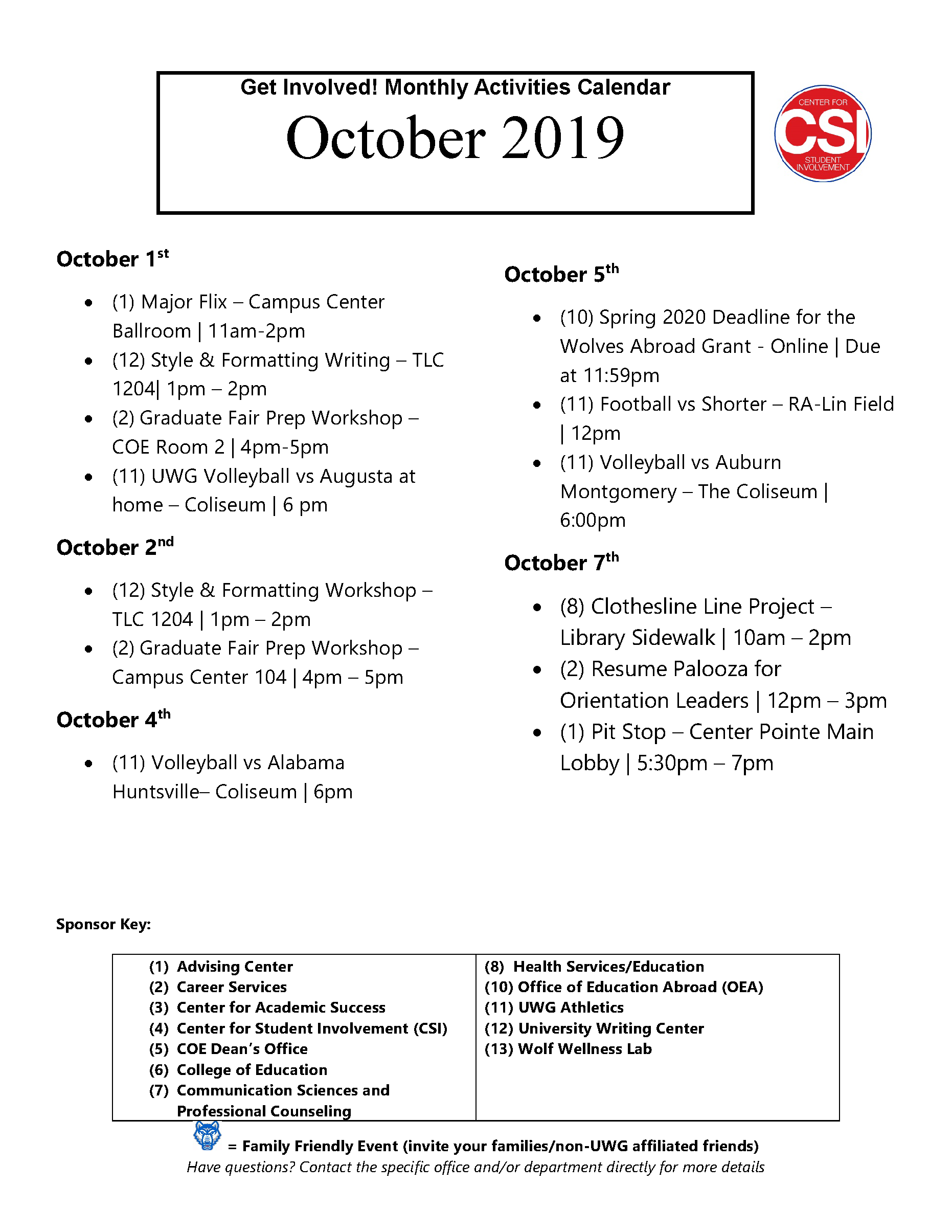 Page 1 of October Activities Calendar