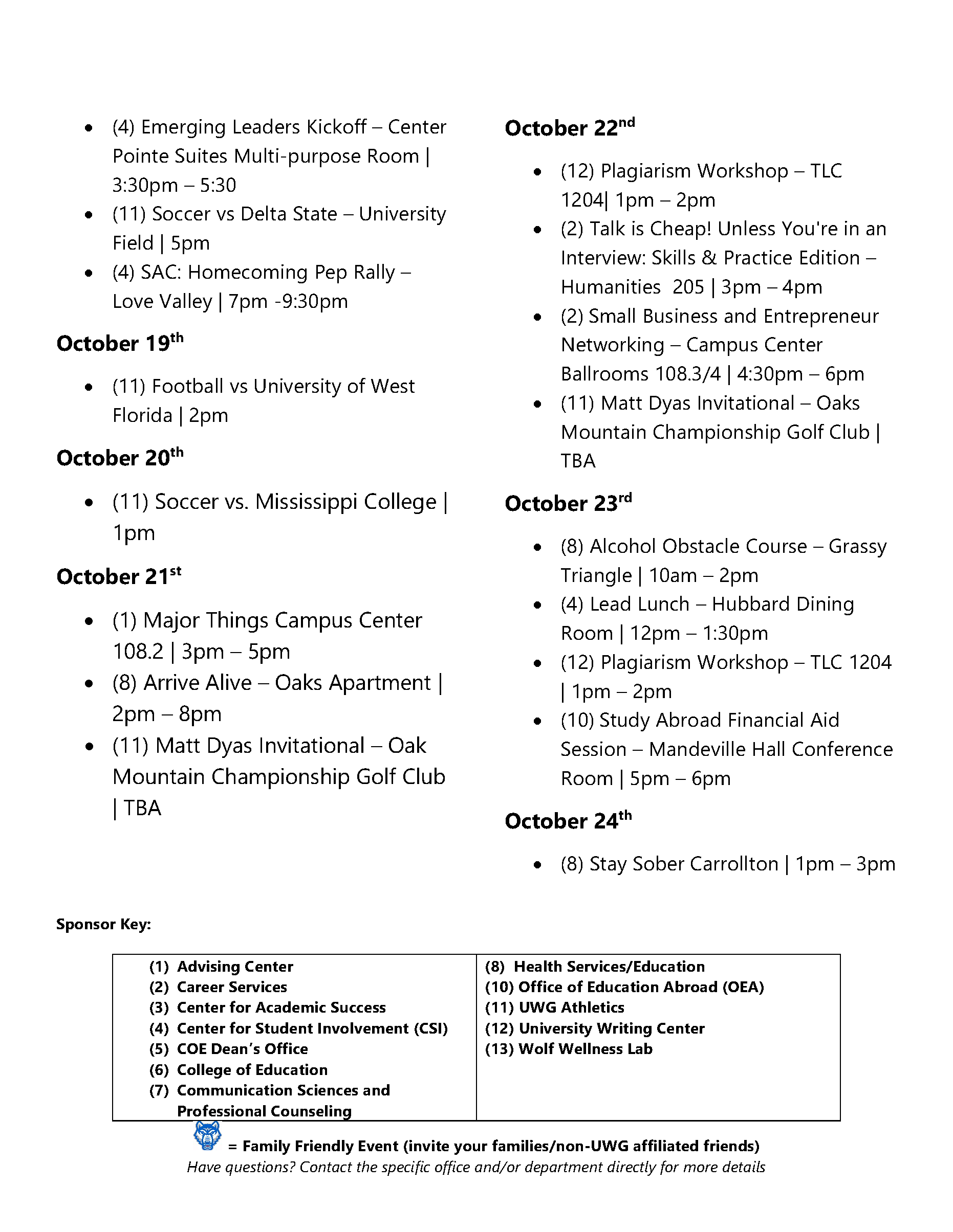 Page 4 of October Activities Calendar