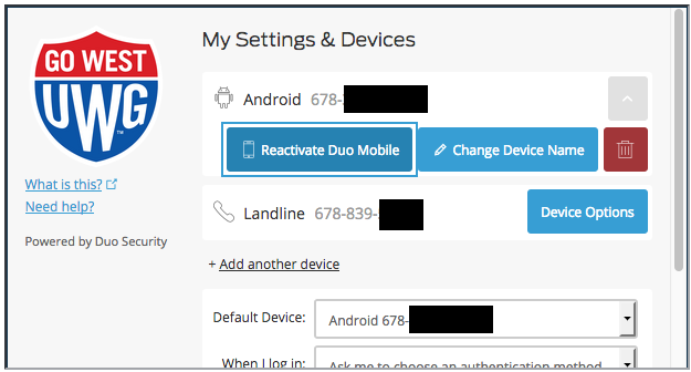 Reactivate Duo Mobile, Change Device Name