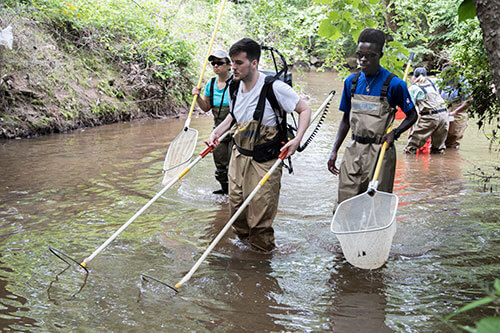 Young people participating in a river cleanup