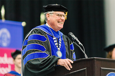 Dr. Micheal Crafton, UWG's interim president, speaks during the spring 2019 commencement ceremony