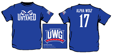 Untamed Alpha Wolf 17 UWG Wolves Left Sleeve Print-Size: 3.5in W x 2.4in H Inks: White, National Red